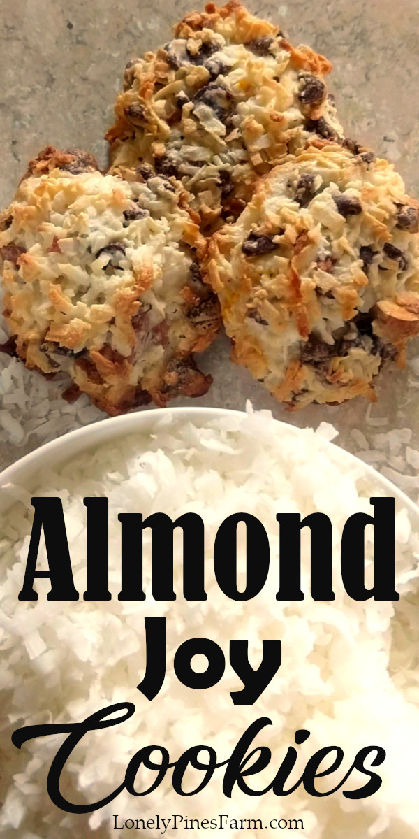 These cookies are incredibly delicious and taste just like Almond Joy candies, but better! Somehow they're both chewy and crispy...chocked full of coconut goodness. Plus the best part is that they only take four ingredients to make! And I bet you even have those ingredients in your pantry RIGHT NOW. So what are you waiting for? Give them a try today! | #baking #copycat