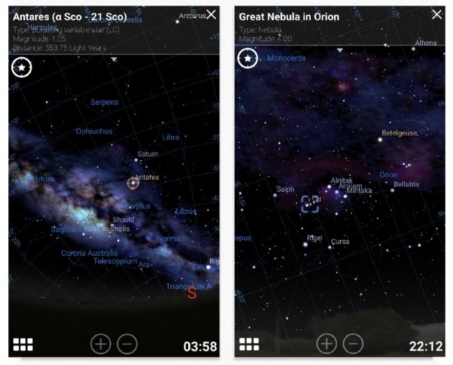 stellarium mobile capture d'écran