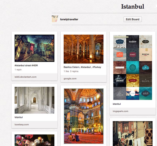 Una delle board di Lonely Traveller su Pinterest