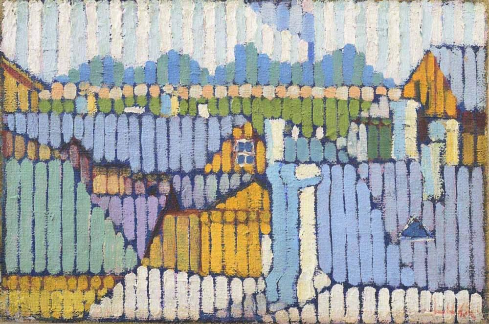 """Herbert Lukk, """"Strada, staccionata e case"""", 1918"""