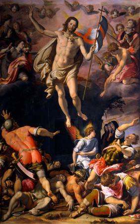 Santi di Tito, Resurrezione 1574 circa, tecnica mista su tavola, cm 456 x 292. Firenze, Basilica di Santa Croce