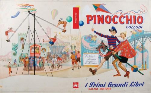 Giuseppe Riccobaldi, Pinocchio, copertina 1956, acquerello, matita, tempera su carta