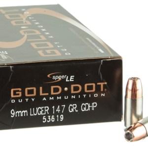 Speer Gold Dot Duty 9mm 147gr GDHP – 50rd Box