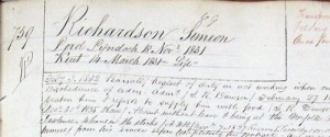 a portion of the Conduct Record for Simeon Richardson, convict, transported on the 'Loord Lyndoch'. Document held at the Tasmanian Archives