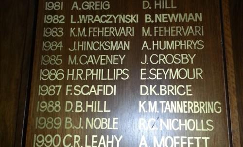 TTG Gold Club Honour Board 2