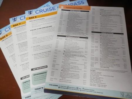 Voyager of the Seas daily newsletter, of what's on and where