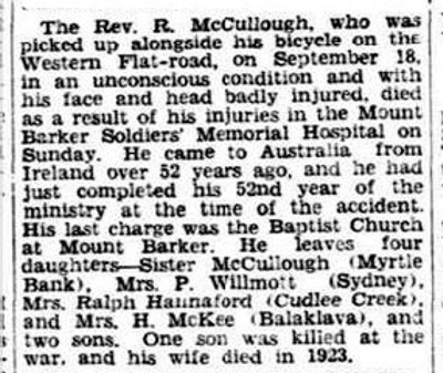 OBITUARY. (1931, October 13). The Advertiser (Adelaide, SA : 1931 - 1954), p. 10. Retrieved October 28, 2013, from http://nla.gov.au/nla.news-article29868573