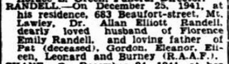 Allan Elliott Randell's death notice, The West Australian, 26 December 1941 http://nla.gov.au/nla.news-article47174940 http://nla.gov.au/nla.news-article47174940