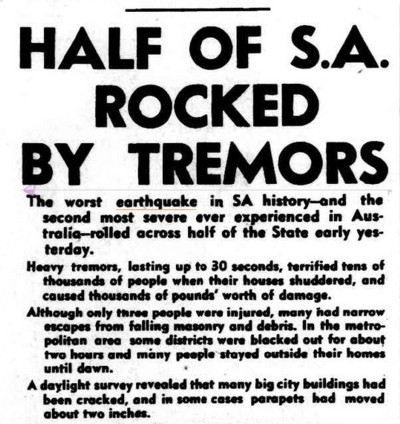 Most Severe Earthquake In State's History. (1954, March 2). The Advertiser (Adelaide, SA : 1931 - 1954), p. 1. Retrieved January 6, 2014, from http://nla.gov.au/nla.news-article47570886