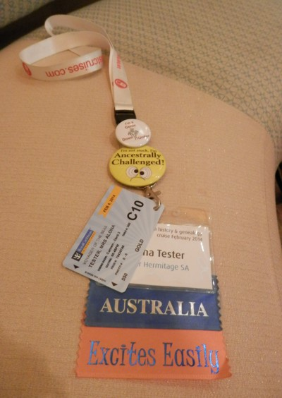 by this time my lanyard/name tag was getting blinged up with ribbon stickers and badges