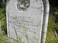 Mary Ann Elliott Randell's gravestone at Salem Baptist Church, Gumeracha