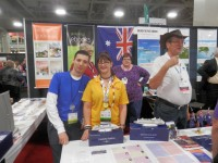 Myko Clelland of Findmypast, and Alona Tester - with Cyndi Ingle and Dick Eastman at the Unlock the Past Cruises stand at RootsTech 2015