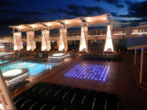 top deck of the Celebrity Eclipse at night