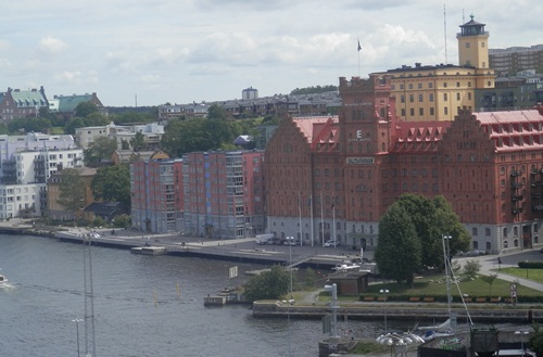 view of Stockholm from the ship