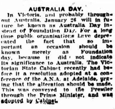 AUSTRALIA DAY. (1930, August 29). Queensland Times (Ipswich) (Qld. : 1909 - 1954), p. 6 Edition: DAILY.. Retrieved January 20, 2016, from http://nla.gov.au/nla.news-article115352854