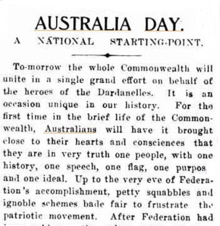 AUSTRALIA DAY. (1915, July 29). The Catholic Press (Sydney, NSW : 1895 - 1942), p. 24. http://nla.gov.au/nla.news-article115208345
