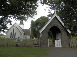 Church and cemetery at Te Waimate Mission, New Zealand