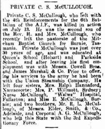 PRIVATE C. S. McCULLOUGH. (1915, August 14). Chronicle (Adelaide, SA : 1895 - 1954), , p. 42. Retrieved March 11, 2016, from http://nla.gov.au/nla.news-article89149212