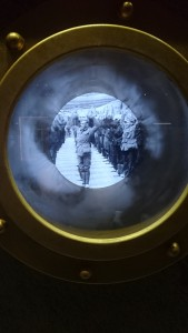 looking at old movies of troops on ships through portholes