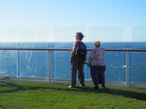 Judy and Helen watch as we leave Adelaide