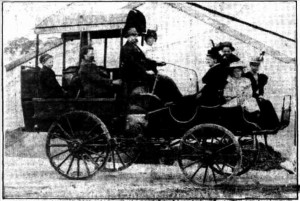 Australia's First Motor Car - Mr Shearer with his family and relatives about to set out on a run in his car.