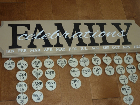 just one of the many family birthday boards available on Etsy