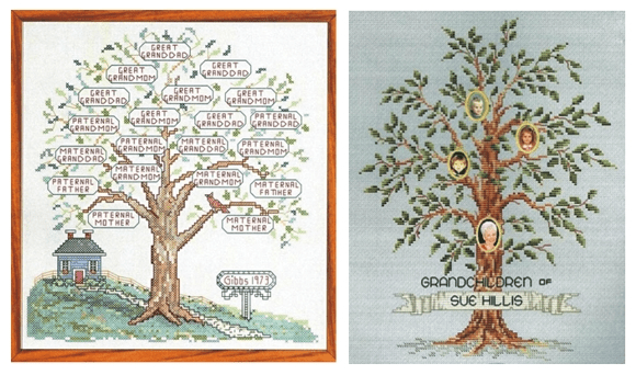 two cross stitch kits that are available from Fun Stuff For Genealogists
