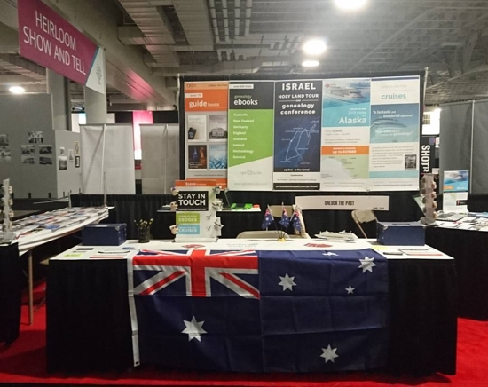 our Unlock the Past stand, complete with Aussie flag