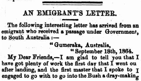 An Emigrant's Letter, Adelaide Express, 22 April 1865 http://nla.gov.au/nla.news-article207600900