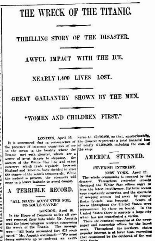 The Wreck of the Titanic, (18 April 1912, The Advertiser , p. 9.) http://nla.gov.au/nla.news-article5336985