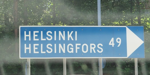 all signs are in Finnish (top), and Swedish (bottom)