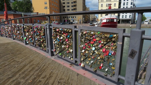 aLove Lock bridge in Helsinki