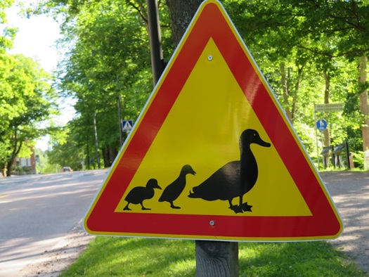 the duck sign at Fiskars