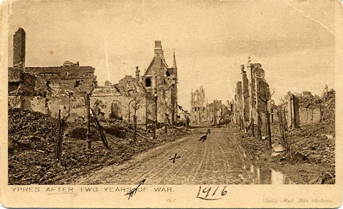 postcard from Otto Winter to his parents-in-law in South Australia, showing where he was at Ypres during WW1