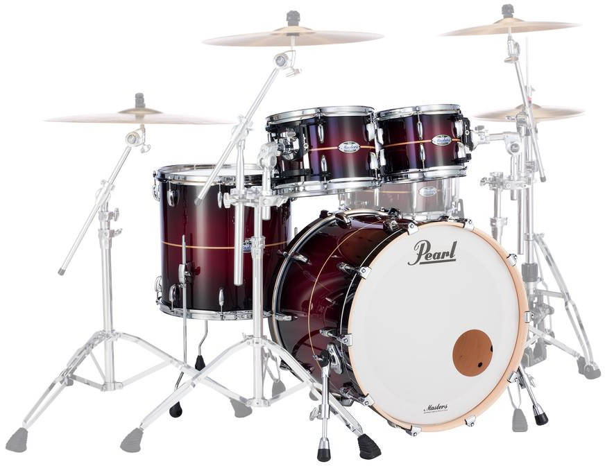 pearl masters maple complete 4pc shell pack 22 10 12 16 red burst stripe