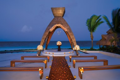 Dreams Riviera Cancun Resort & Spa - Weddings - Reception Area - Wedding Gazebo Night