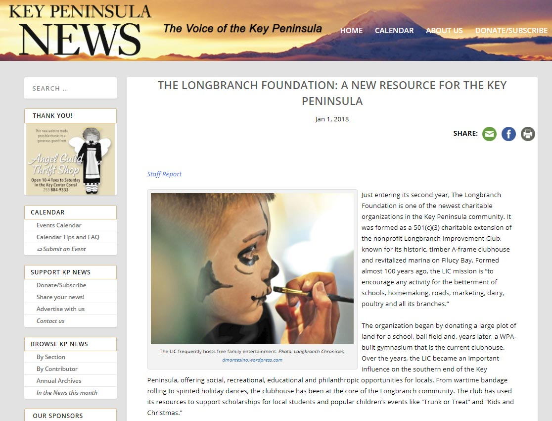 The Longbranch Foundation featured in the January 1st, 2018 edition of the Key Peninsula News.