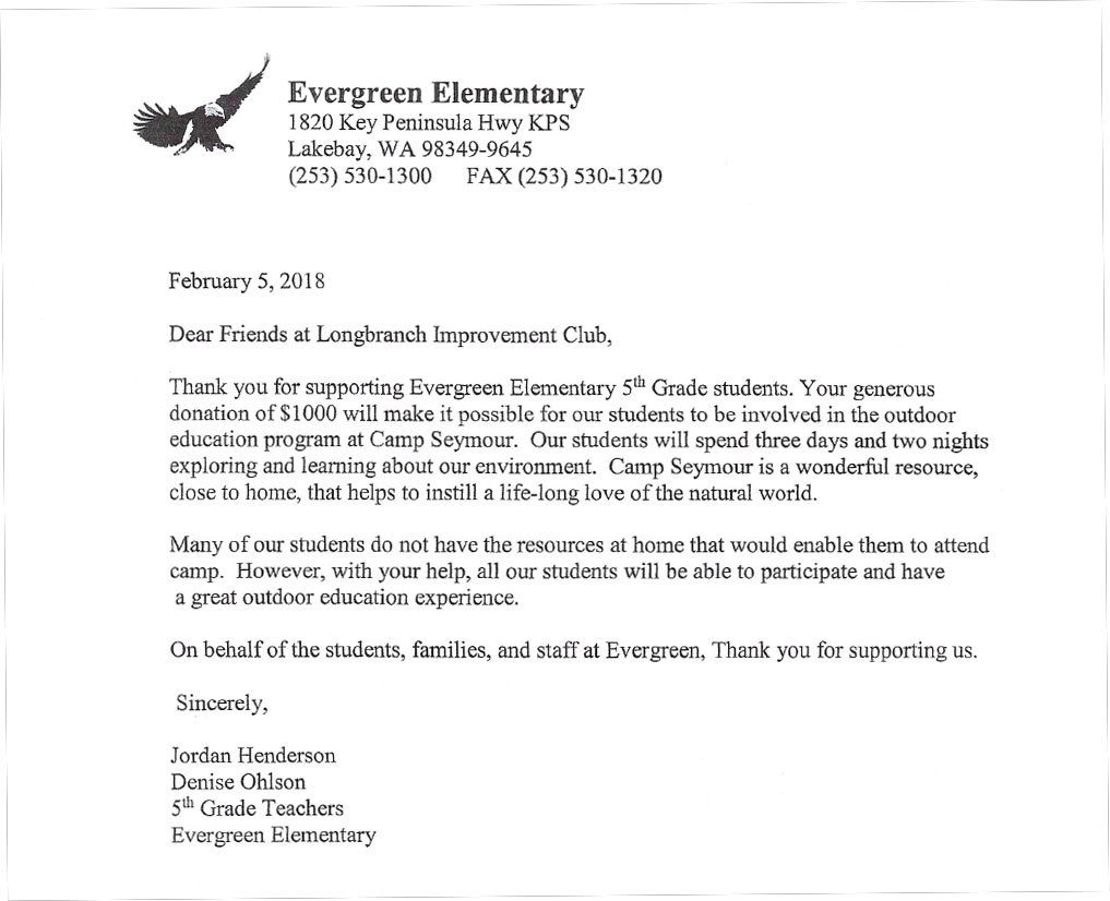 Longbranch Foundation Evergreen Elementary Thank you 2018