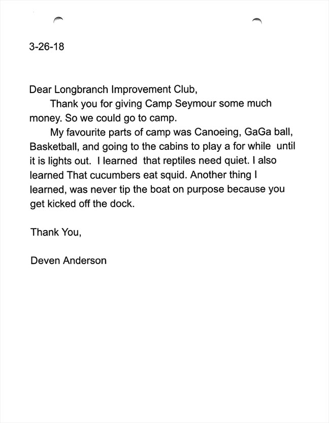 Evergreen Elementary 5th graders thank you letters Deven Anderson