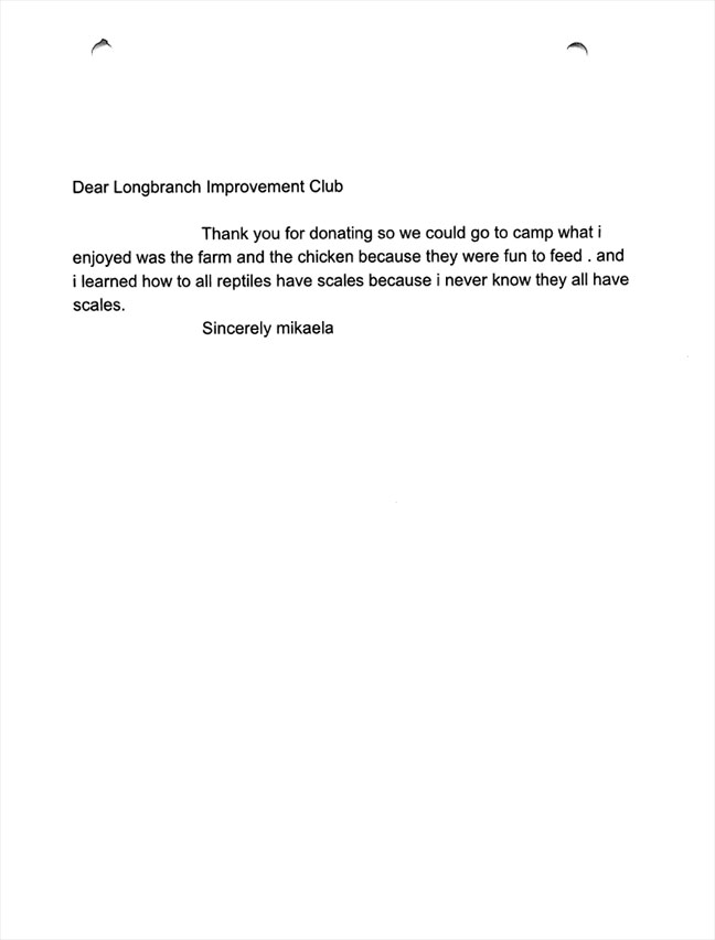 Evergreen Elementary 5th graders thank you letters Mikaela