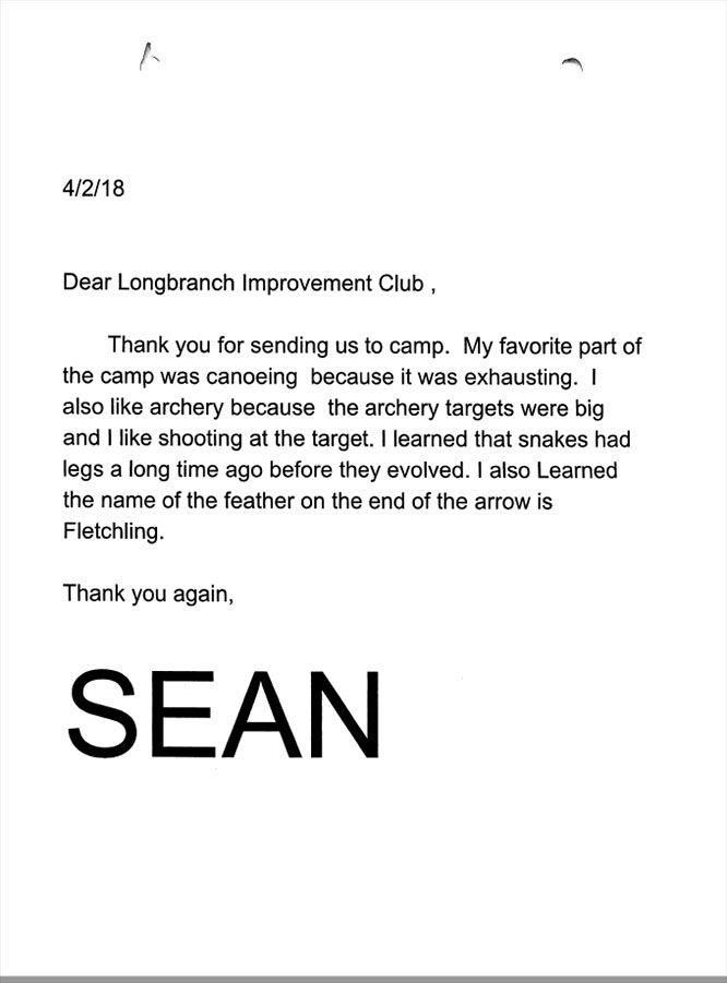 Evergreen Elementary 5th graders thank you letters Sean