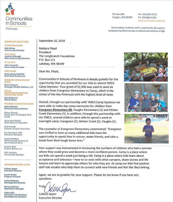 Longbranch Foundation thank you letter from Communities in Schools Peninsula Grant 2018