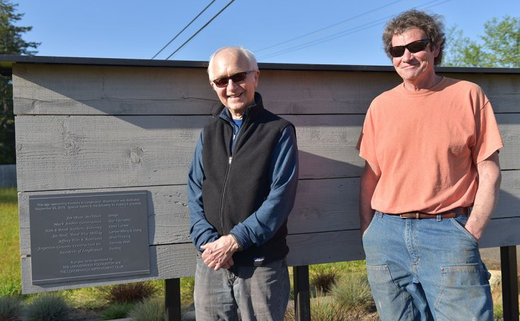 Jim Olson & Mark Ambler standing next to Longbranch, Washington sign