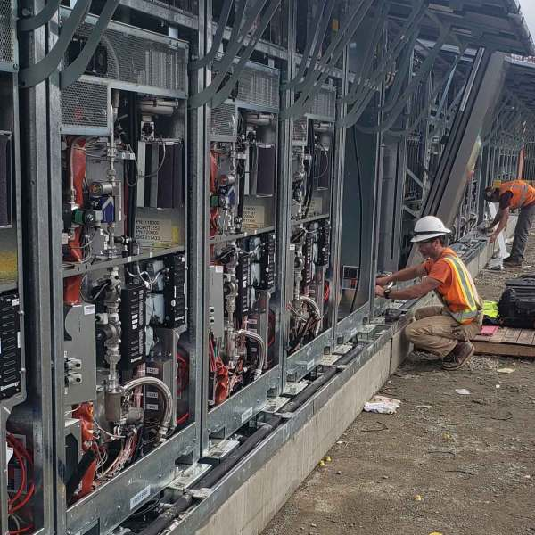 electrician working on conduits