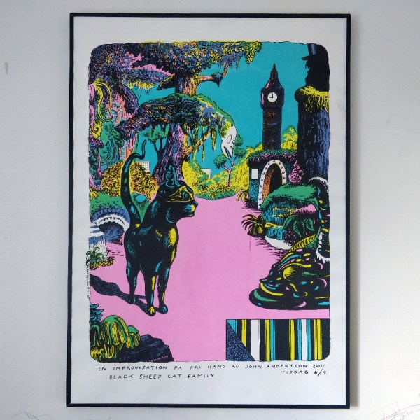 Black sheep cat family - screen printed poster by John Andersson