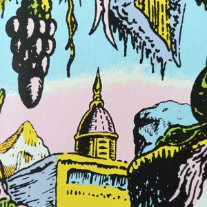 """""""Dracula's castle"""" screen print by John Andersson - detail."""