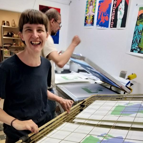 Emelie Östergren in the printing studio Longest Night