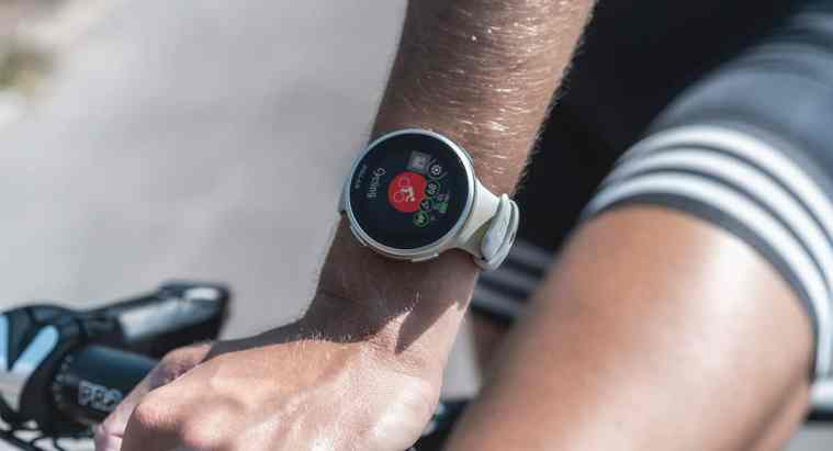 The Polar Vantage V2 is one of the best wearables in 2021 for life and healthspan extension. Image of the Polar Vantage V2 on a cyclist.