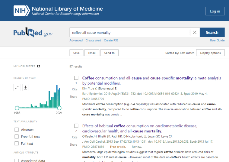 PubMed coffee all-cause mortality screenshot: do coffee drinkers live longer?