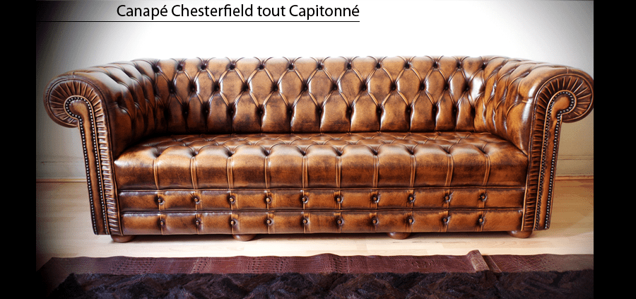 Canap Chesterfield Capitonn 3 Places Marron Patin